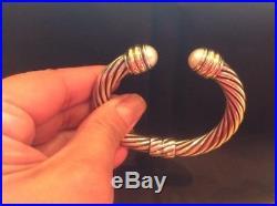 David Yurman 10mm Cable Classics SS 14K Gold Pearl Cap Hinge Bracelet Retired EX