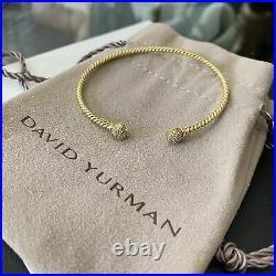 David Yurman 18k Gold Diamond Petite Solari Bead Bracelet S