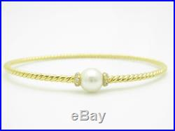 David Yurman 18k Yellow Gold Petite Solari Pearl & Diamond Cable Bangle Bracelet