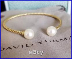 David Yurman 18k Yellow Gold Solari Pearl Bead Cuff Bangle Bracelet M