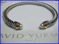 David Yurman 5mm Pearl Cable Bracelet SS & 14K Gold