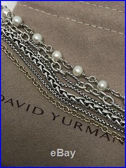 David Yurman. 925 18K Gold Multi Strand Pearl Wheat Box Figaro Chain Bracelet