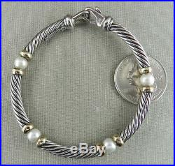 David Yurman 925 Sterling & 14K Yellow Gold Pearl Twisted Cable Classic Bracelet
