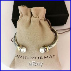David Yurman Cable Bracelet 5mm Sterling Silver Cuff Bangle 14k Gold with Pearl