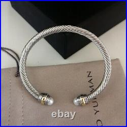 David Yurman Cable Bracelet Pearl With Gold 925 Sterling Silver Bangle 5mm M