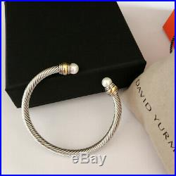 David Yurman Cable Bracelet Sterling Silver with 14k Gold Pearl Cuff Bangle 5mm