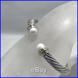 David Yurman Cable Classics 7mm Pearl and 14K Gold Cable Cuff Bracelet