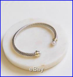 David Yurman Cable Classics Bracelet With Pearl 14k Gold 5mm Med