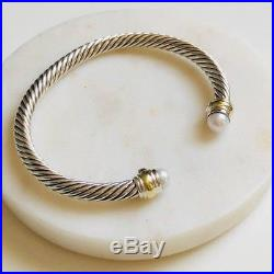 David Yurman Cable Classics Bracelet with Pearl & 14k Gold 5mm Med Authentic