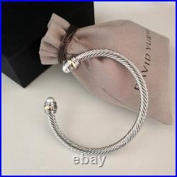 David Yurman Cable Cuff Bracelet 5mm Sterling Silver & 14k Gold Pearl Bangle M