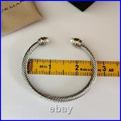 David Yurman Cable Cuff Bracelet 5mm Sterling Silver &14k Gold Pearl Bangle M