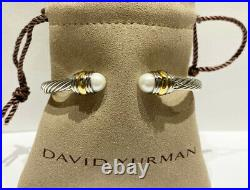 David Yurman Classic Cable 14K Gold Sterling Silver 5mm Bracelet with Pearls