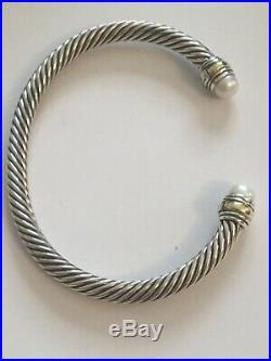 David Yurman Classic Cable 5mm Bracelet With 14K Gold & pearls t (Medium)