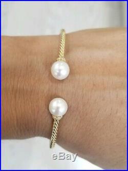 David Yurman Diamond Pearl Solari 18K Gold Cuff Bracelet Size M Bangle