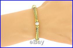 David Yurman Hampton 18k Yellow Gold Pearl Cable Station Bracelet 5mm