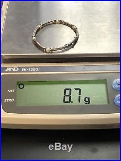 David Yurman Hampton 4.2mm Pearl 18K Gold Sterling Silver Cable 5.25 Bracelet
