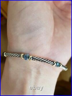 David Yurman Hampton Topaz Bead Cable Link 925 Sterling 14k Gold Bracelet