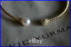 David Yurman Petite SOLARI Bead and Pearl Bracelet withDiamonds in 18k Gold