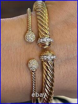 David Yurman Petite Solari Diamond 18k Gold Bead Cuff Bracelet New