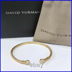 David Yurman Petite Solari Gold Cable Diamond Bead Bracelet