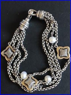 David Yurman Quatrefoil Sterling Silver Pearl and Gold Multi-Strand Bracelet EUC