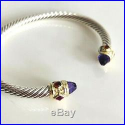 David Yurman Renaissance Bracelet Amethyst Pink Tourmaline Garnet 14k Gold 5mm