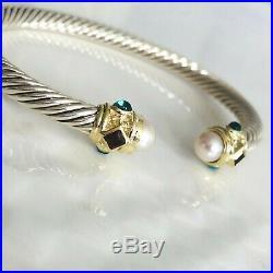 David Yurman Renaissance Bracelet Pearls, Rhodalite Garnet & 14k Gold 5mm Medium