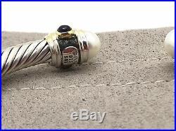 David Yurman Renaissance Cable Bracelet W. Pearl Garnet & Lolite 14K Gold 5mm