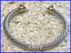 David Yurman Renaissance SS 18K 5MM Cable Pink Tourmaline & Pearl Bracelet