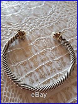 David Yurman SS &14K Gold 5mm Renaissance Pearl & Pink Tourmaline Cable Bracelet