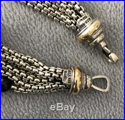 David Yurman Sterling 8 Strand Box Chain Silver 18K Gold Onyx Pearl Bracelet