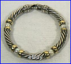 David Yurman Sterling Silver 14K Gold 4 Stations Pearl Cable Bracelet 7 mm