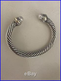 David Yurman Sterling Silver 14k Gold 7mm Pearl Cable Cuff Bracelet