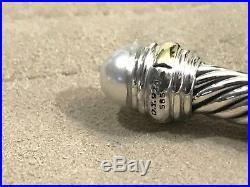 David Yurman Sterling Silver & 14k Gold Pearl 5mm Cable Cuff Bracelet NWOT