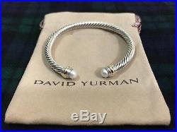 David Yurman Sterling Silver & 14k Gold Pearl 5mm Cable Cuff Bracelet NWOT $625