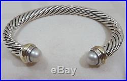 David Yurman Sterling Silver 14k Gold Pearl Cable Classic 44 Grams Bracelet 7mm