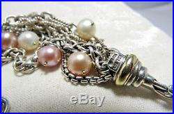 David Yurman Sterling Silver & 18K Mixed Pearls 7 strands Bracelet