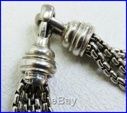 David Yurman Sterling Silver 18K Yellow Gold Pearl Quatrefoil Box Chain Bracelet