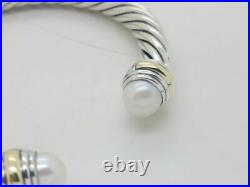 David Yurman Sterling Silver 7mm Pearl And 14K Gold Cable Cuff Bracelet