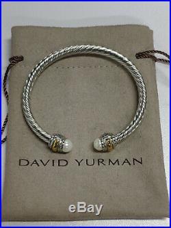 David Yurman Sterling Silver 925 & 14k Gold 5mm Cable Pearl Cuff Bracelet