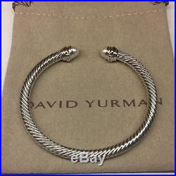 David Yurman Sterling Silver Pearls 14k Gold 5mm Cable Cuff