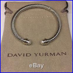 David Yurman Sterling Silver Pearls & 14k Gold 5mm Cable Cuff Bracelet