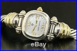 David Yurman Watch Bangle Bracelet 14k Gold Sterling Mother Pearl Dial