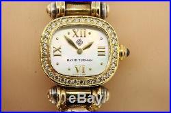 David Yurman Watch Bangle Bracelet 18k Gold Sterling Diamond Mother Pearl Dial