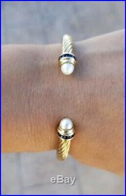 David Yurman Yellow Gold Pearl Sapphire 5mm Cable Cuff Bracelet M