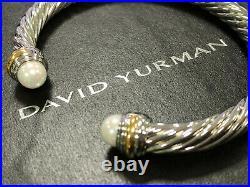 David Yurman classic 925 Sterling Silver 14K Gold Pearl Cable Cuff Bracelet 7mm