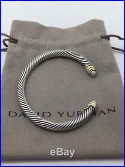 David yurman Sterling silver & 14k gold pearl 5MM cable cuff bracelet