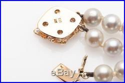 Designer $3000 7.5mm Cultured Grey Pearl TWO ROW 14k Gold Diamond Bracelet