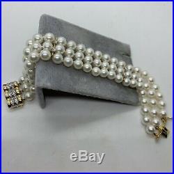 Designer CH 18k yellow white gold Akoya cultured pearl diamond 3 strand bracelet
