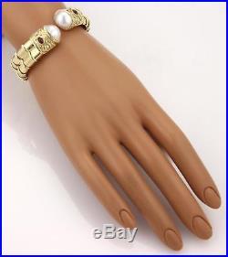 Designer Signed Diamond Ruby & Pearl 18k YGold Fancy Flex Cuff Bracelet